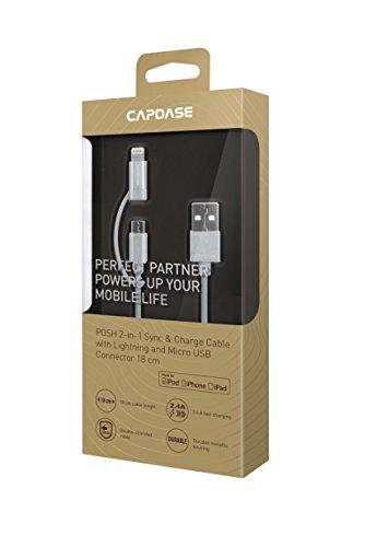 Capdase Cable de Carga 18 cm con Luz y Micro USB Conector para Apple Series - Plateado