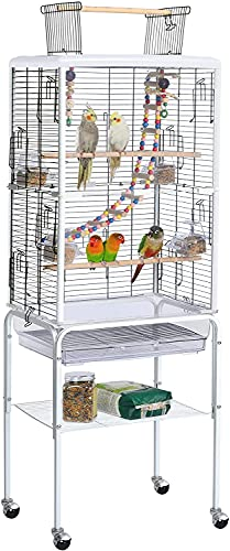White Large 131cm Open Top Transparent Clear Rolling Portable Metal Bird Cage With Wheels & Tray For Cockatiel Cockatoo Parrot Budgie