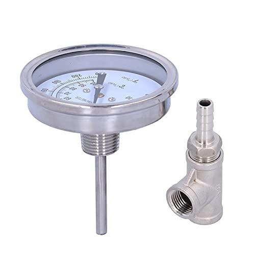 Duokon Termómetro Digital Higrómetro, Termómetro Integrado Monitor de Temperatura de Acero Inoxidable para líquido Que Fluye al Aire Libre Dormitorio Oficina Cocina Vino