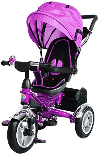 Miweba Kinderdreirad Schieber 7 in 1 Kinderwagen - 360° Drehbar - Faltbar - Luftreifen - Heckfederung - Laufrad - Dreirad - Schubstange - Ab 1 Jahr (KSF10 Faltbar Lila)
