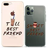 Cavka Matching Couple Cases Replacement for iPhone 12 Pro 5G Mini 11 Xs Max 6s 8 Plus 7 Xr 10 SE X 5 Short BFF Coffee Tall Cute Soft Clear Cover Print Flexible Funny Friendship Slim fit Art