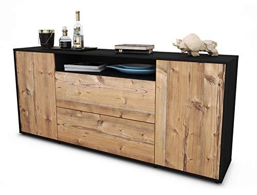Stil.Zeit Sideboard Erina/Korpus anthrazit matt/Front Holz-Design Pinie (180x79x35cm) Push-to-Open Technik