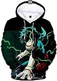 PANOZON Sudadera Hombre Impresión 3D de Anime Japonés Uniforme con Capucha Manga Ninja (L, Verde 08)