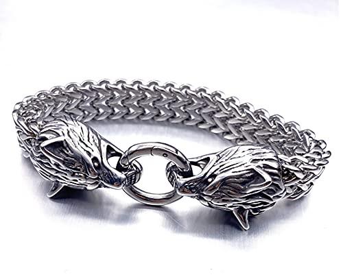 XIABME Norse Mythology Foxtail with Wolf's Head Design Men's Biker Bracelet,Fishhook Vintage Viking Pagan Wolf Head Metal Cuff Bangle Wristband Bracelet Jewelry (Color : Silver, Size : 21cm)