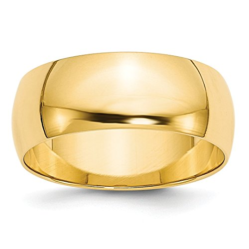 14k Yellow Gold 8mm Half Round Wedding Ring Band Size 5 Classic Fine Jewellery For Women Gifts For Her