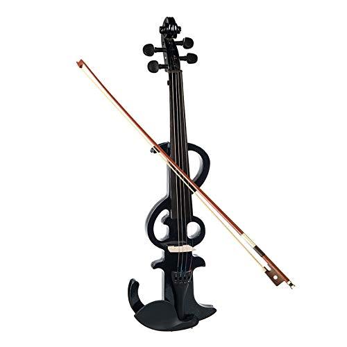 SHUHUAN Violino Elettrico 4/4 Violino Elettrico Violino Full Size Violino Tastiera in Ebano + Custodia Nera Set