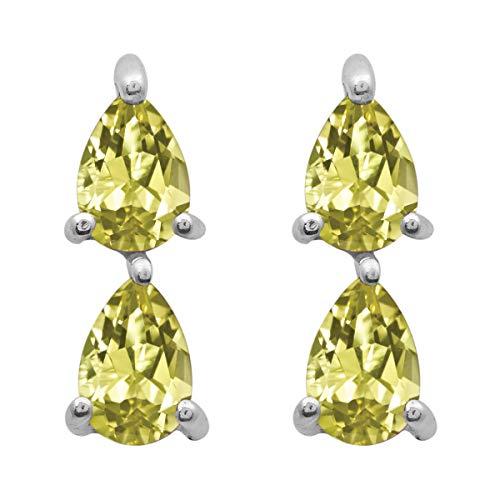 Opción múltiple Piedra preciosa en forma de pera Ropa de fiesta de plata de ley 925 Pendiente colgante colgante (Cuarzo limón)