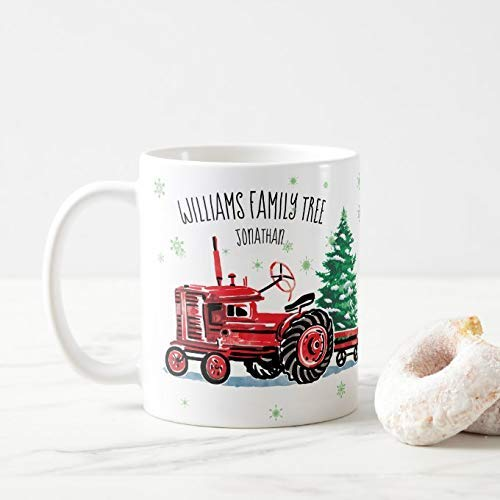 11oz White Coffee Mugs, Red Vintage Tractor Christmas Tree Add Name Coffee Mug, Ceramic Chocolate Mug as a Present for Birthday, Christmas and Thanksgiving