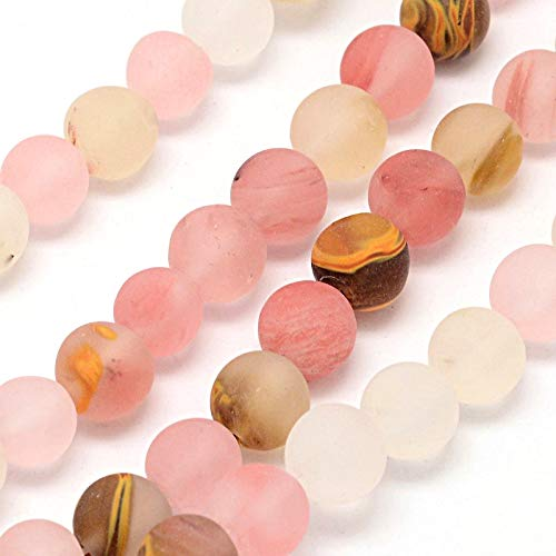 Tigerskin Juego de perlas de cristal de cuarzo, piedra semipreciosa mate, esmeriladas,...