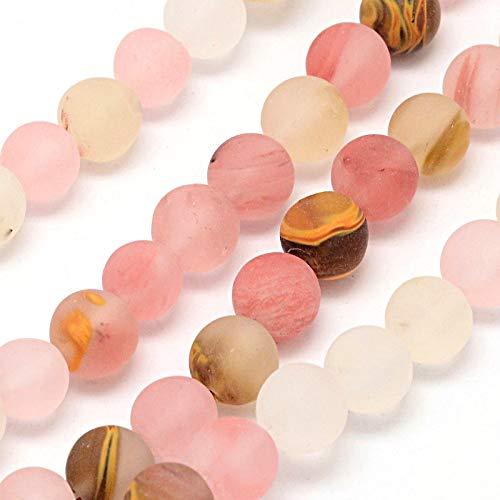 Tigerskin Juego de perlas de cristal de cuarzo, piedra semipreciosa mate, esmeriladas, redondas, de 4 mm, 6 mm, 8 mm, 10 mm, set de piedras preciosas sueltas, diseño de joyas, (10mm, 12 Stück)