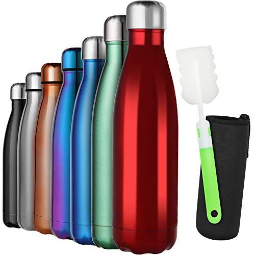 GeeRic Trinkflasche 1L Edelstahl Thermosflaschen Doppelwandige thermoskanne 1000ml Auslaufsicher BPA-frei rostfrei Isolierflasche und Hält kalte Mit Tassenbürste, Tassenschutz helles rot