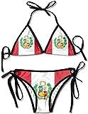 YJWLO Bandera de Perú Sexy 2 Piezas Traje de baño Bikini Set para Mujeres Niñas Negro Negro ( Talla única