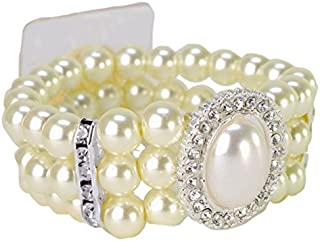 Floristrywarehouse Cream Pearl and Diamante Wrist Corsage Bracelet Vintage