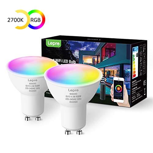 Lepro GU10 Smart Lampe RGBW, Wlan Alexa Glühbirnen, Wifi LED Leuchtmittel, kompatibel mit Alexa und Google Home, 2 Pack (4.5W = 50W, RGB und Warmweiß, Dimmbar per App oder Sprache)