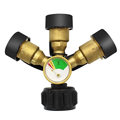 MENSI New Propane LP Tank Fuel Tee Gauge Adapter Fitting 3 Y Splitter QCC Connection Cylinder Connector Converter with Leak Detector