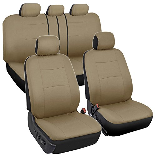 BDK OS-309-AB Tan Trim Black Car Seat Covers Full 9 Piece Set, Sleek & Stylish, Split Option Bench 5 Headrests Front & Rear Bench, Beige