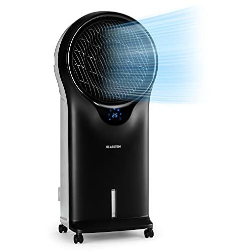 Klarstein Whirlwind - Enfriador de aire portátil, Ventilador refrescante, 3-EN-1: enfría ventila humidifica, 90W, 5,5L, Oscilador, Movilidad 360º, Asas Laterales, 3 Niveles de Intensidad, Antracita