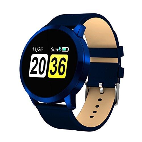 Relojes Inteligentes LJR Q8A STAME DE Pantalla OLED DE 0,95 Pulgadas Correa de Cuero Bluetooth Smart Watch, IP67 Impermeable, Soporte de cámara remota/Monitor de presión Arterial/Monitor de oxígen