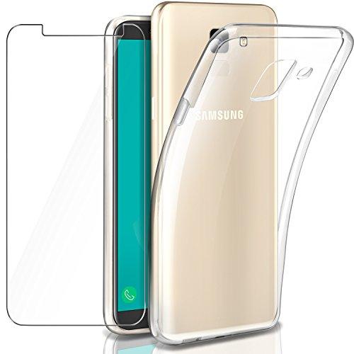 Leathlux Samsung Galaxy J6 2018 Hülle + Panzerglas, Galaxy J6 2018 Durchsichtig Case Transparent Silikon TPU Schutzhülle Premium 9H Gehärtetes Glas für Samsung Galaxy J6 2018