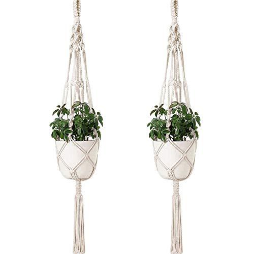 Sixyotie Macramé Colgadores de Plantas Cuerda de algodón para Colgar macetas para Colgar macetas para Interior y Exterior Boho Home Decor (2)