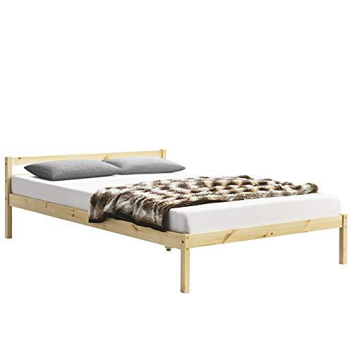 [en.casa] Holzbett 180 x 200 cm Kiefer Natur Bettgestell Kiefernholz mit Lattenrost Bettrahmen Doppelbett Jugendbett