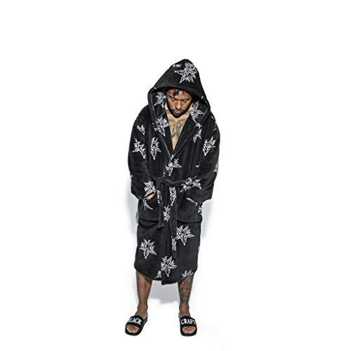 Blackcraft Cult Baphomet Ritual Robe Unisex Gothic Fashion Black Bath Hooded Dressing Gown (XXX-Large)