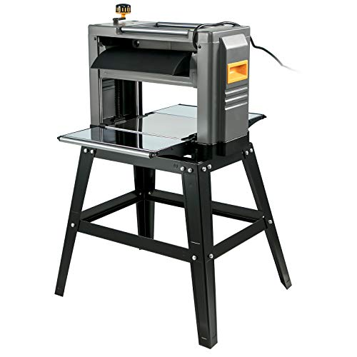 """VEVOR Thickness Planer 12.5 inch Wood Planer Foldable 1500W Thickness Planer Woodworking 315""""/min Feed Rate Double Cutter Benchtop Thickness Planer with Dust Exhaust Interface Stand for Woodworking"""