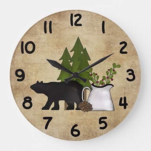 Rustic Country Mountain Bear Wooden Wall Clock for Living Room Bedroom Kitchen Home Office Decoration 12 inches