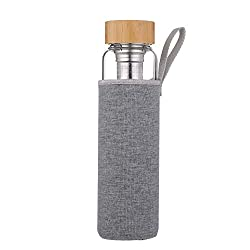 sunkey drinking bottle glass 1 liter with sieve to go water bottle fruit container bamboo lid neoprene cover Bpa free
