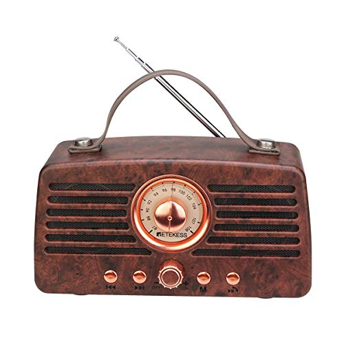 Retekess TR607 Vintage Radio Retro Bluetooth Lautsprecher, Tragbares FM Radio mit 1500mAh Akku, Doppel Lautsprecher, MP3 Player, Unterstützt USB-Disk, TF-Karte, AUX-Eingang