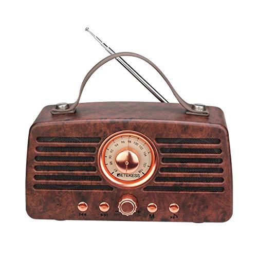 Retekess TR607 Vintage Radios Radio Retro con Radio Inalámbrica Bluetooth FM con Batería Recargable 1500mAh Reproductor de MP3 de Doble Altavoz