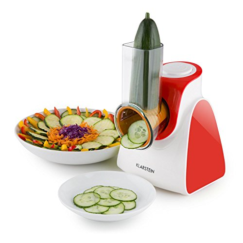 Klarstein Carrot & Rock Salad Cutter Slicer Grater (150W, 5 Cutting Attachments, for Slicing Shredding and Grating) Red