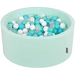 KiddyMoon 90X40cm/300 Balles ∅ 7Cm Piscine À Balles pour Bébé Rond Fabriqué en UE, Menthe:Turq. Clair/Blanc/Transparent/Babyblue