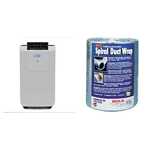 Whynter Elite ARC-122DHP 12,000 BTU Dual Hose Portable Air Conditioner with Activated Carbon Filter plus Autopump and Storage bag for up to 400 sq ft & Reflectix DW1202504 Spiral Duct Wrap, Silver