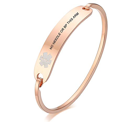 VNOX Free Engraving-Stainless Steel Medical Alert ID Bangle Bracelet,Gold Plated/Silver,7.4'-8.0' (7.4'-Rose Gold, no Needle or bp This arm)