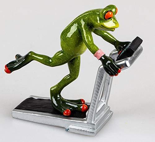 Formano Deko-Figur Frosch hellgrün auf Laufband ca.16x15cm aus Kunststein mit glänzender, handbemalter Oberfläche
