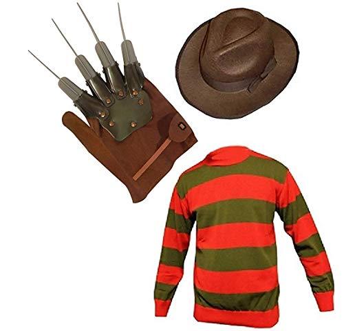 Unisex Kids Boys Freddy Halloween Fancy Dress Hat Jumper & Glove Set (Age 7-8, Jumper, Hat & Glove)