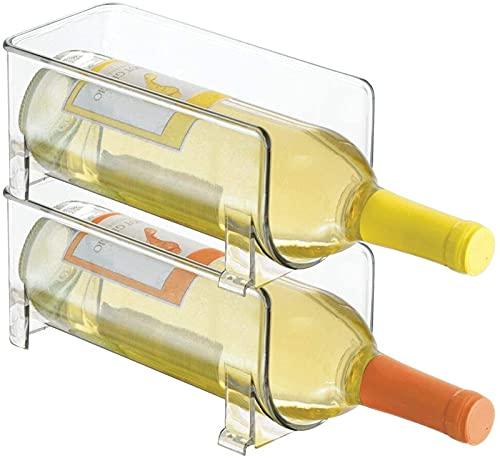 xzl Botellero – Juego de 2 botellas – Almacenamiento transparente para botellas de vino – Bodega moderna que extiende la vida del vino y el corcho – Botellas apilables