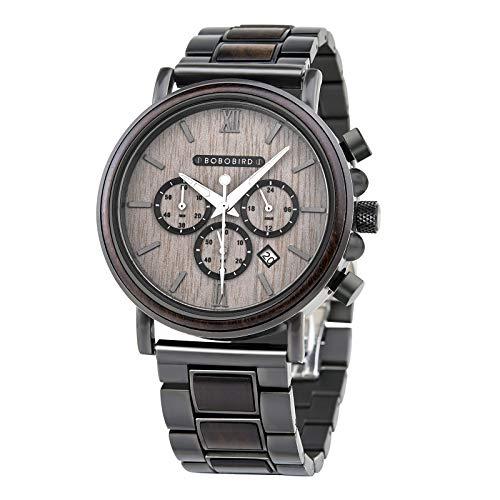 BOBO BIRD 2021 New Men's Wrist Watches Stylish Wood Watch Analog Quartz Casual Wooden Wrist Watch with Gift Box (Grey)