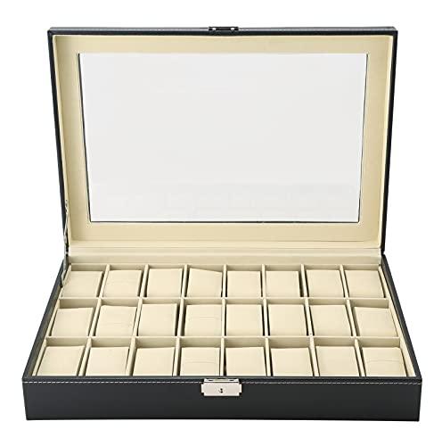 MAOPINER 24 Slot Watch Box Organizer Display Watch Case, Watch Display Case Organizer, Jewelry Display Drawer Case, Wristwatch Jewelry Portable Travel Case Organizer