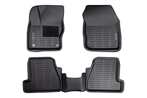 Origen Alfombra Específica 3D Para Ford Focus 3P 2013-2018, Fabricadas en Pvc, Bordes Altos, Ajuste Perfecto, Negro, Pack de 5 Piezas