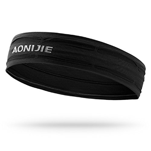 TRIWONDER Unisex Sports Stirnbänder Headbands Schweißband-Armband für Laufen, Tennis, Basketball, Fitnessstudio (Schwarz)