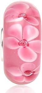 Abalorio de cristal de Murano Lampwork de plata de ley 925 con diseño de flor de la hoja del encanto del aniversario para la pulsera del encanto de Pandora (C)