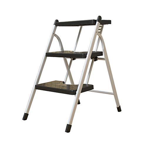 LLCY Klapptritt 3-stück-Leiter-Hocker-Falten-tragbarer schwarzer Fußhocker mit Anti-Rutsch-Matte für Home-Büro-Traggewicht: 100kg Treppenleiter