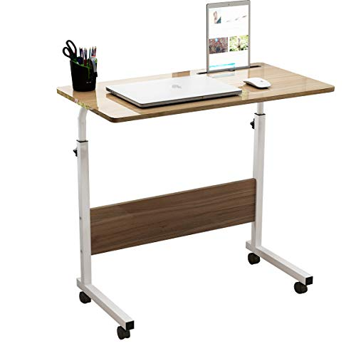 SDHYL 31.5 inches Adjustable Work Stand Mobile Side Desk with Tablet and Mobile Phone Slot Portable Workstation Student Desk Small Snack Table, Bed and Couch Desk, Oak, S7-ZS-05#3-80OK