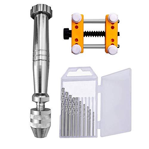 BOIU 12Pcs Hand Twist Drill Set Pin Vise Hand Drill Bits Flat Clamp Table for Metal Wood Jewelry DIY Drilling Tools