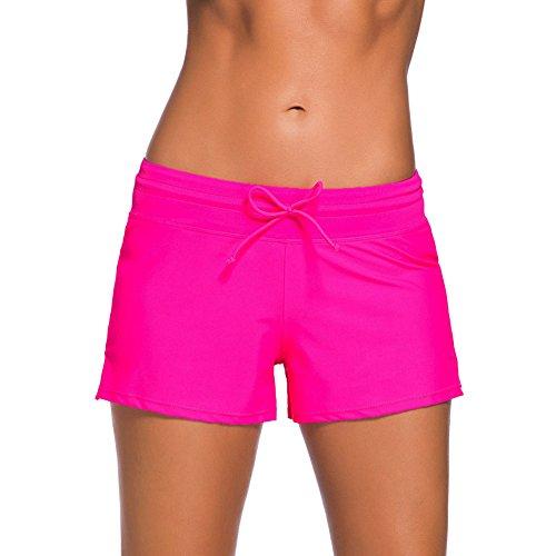 YIFEIKU Co.,Ltd. Swim Shorts Damen Sport Damen Tankini unten Shorts mit seitlichen Split Bund Sommer Strand Schwimmkleidung XXXL Rose