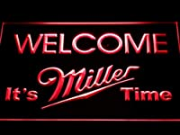 Miller Welcome It's Miller Time LED看板 ネオンサイン ライト 電飾 広告用標識 W60cm x H40cm レッド
