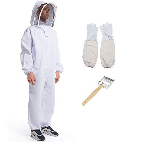 Beekeeping Apiarist Full Suit/Jacket with Sheepskin Gloves& Ventilated Fencing Veil, Professional & Beginner Beekeeping Outfit Integral Hood Beekeeper Suit -L