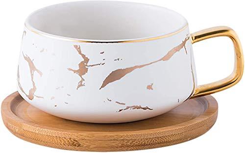 VETIN Tazas de café con platillo, tazas de café de porcelana para té, café y capuchino, tazas de café con disco de madera, color blanco, 300 ml